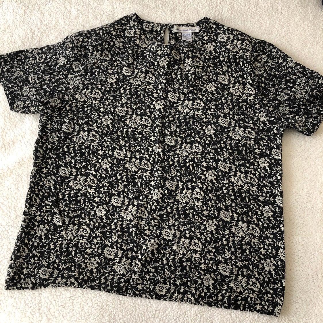 Vintage black white floral silk blouse M