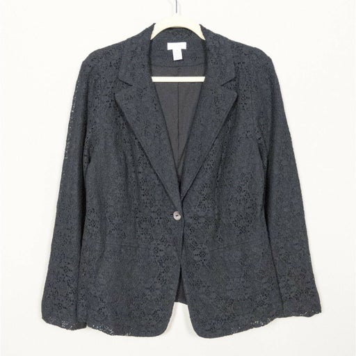 CHICO'S Black Lace Blazer Jacket Long Sleeve One Button Notched Women's Size 1