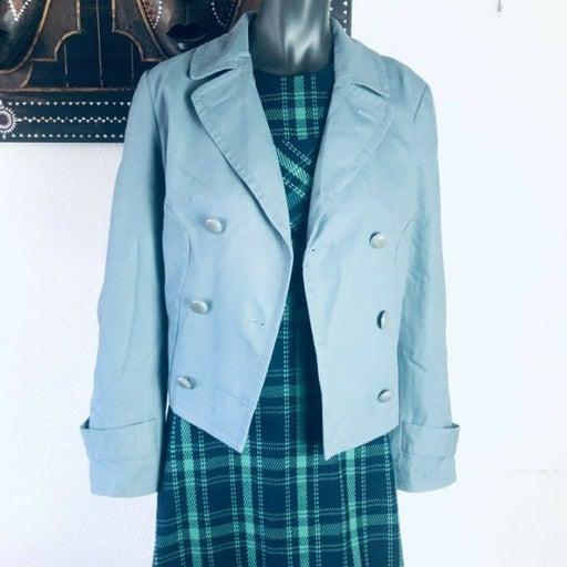 Talbots Womens Blue Gray 100% Cotton Pockets Double Breasted Blazer Sz 12