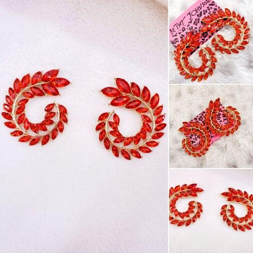 Red Crystal leaf spiral earrings