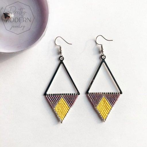 Modern Earrings / yellow&purple