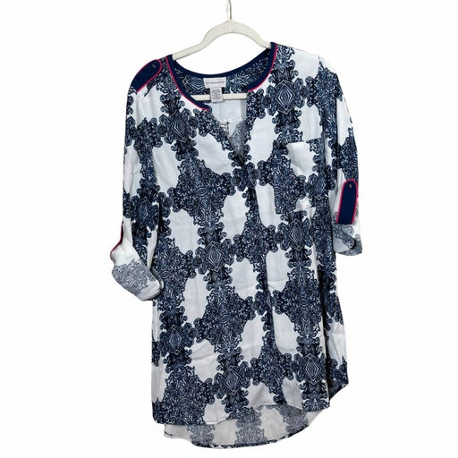 Soft Surroundings Medallion Blue White Button Down Tunic Blouse Womens Small