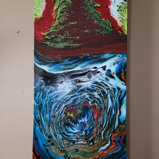"""abstract painting 15x30x1.5in """"hot n col"""