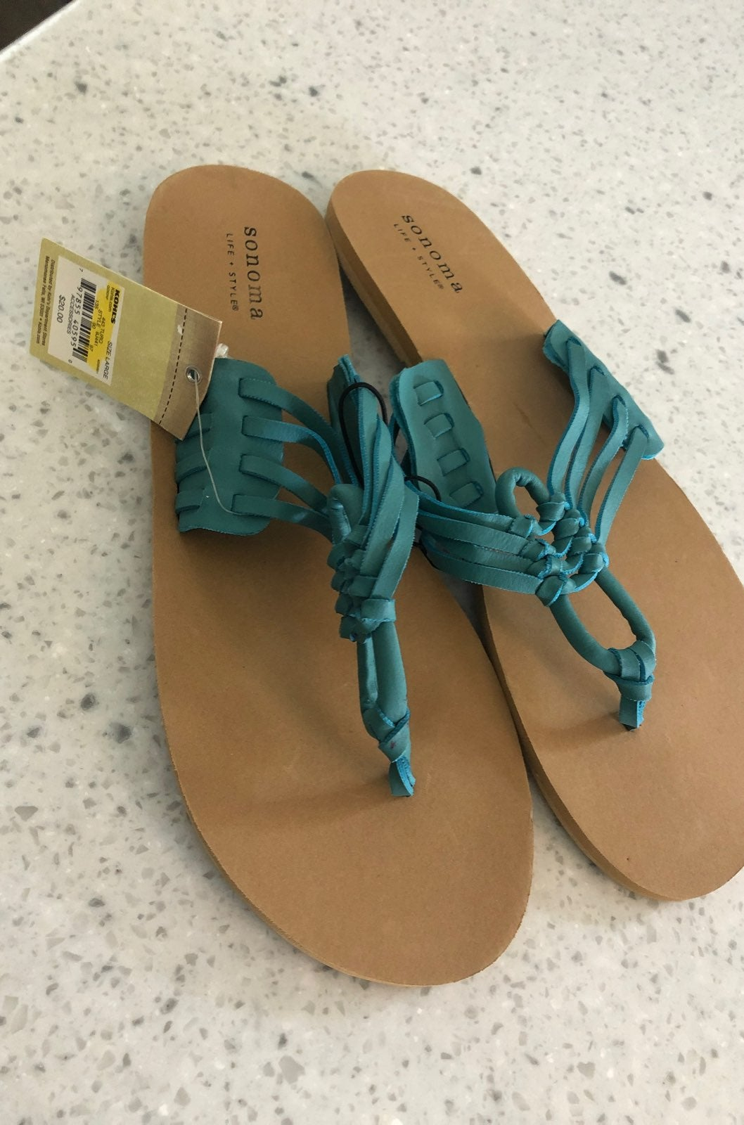 NWT Turquoise Braided Multistrap Sandals