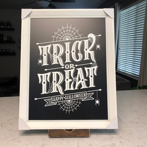 Trick or treat chalk painted sign
