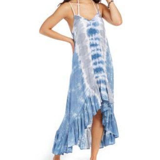 Raviya Tie-Dye Crochet-Trim High-Low Blue/Gray Tie-Dye  Medium