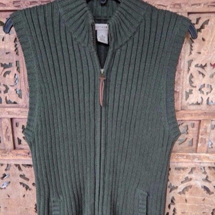 Women's Forest Green Knit Sweater Vest
