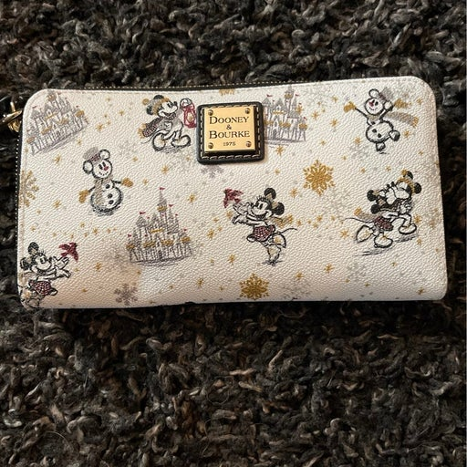 Disney Dooney and Bourke Mickey and Minnie Christmas wallet