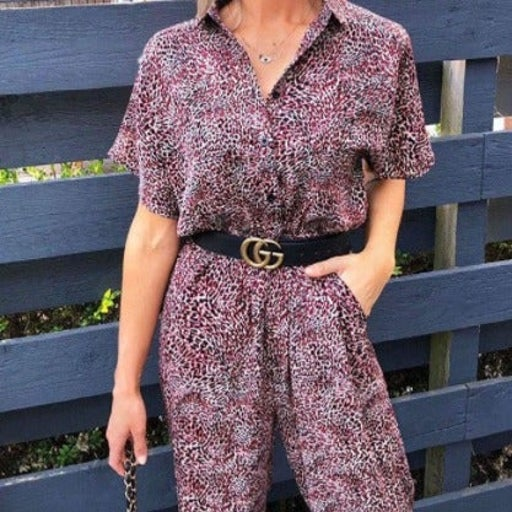 AX Paris Red Printed Button up Jumpsuit