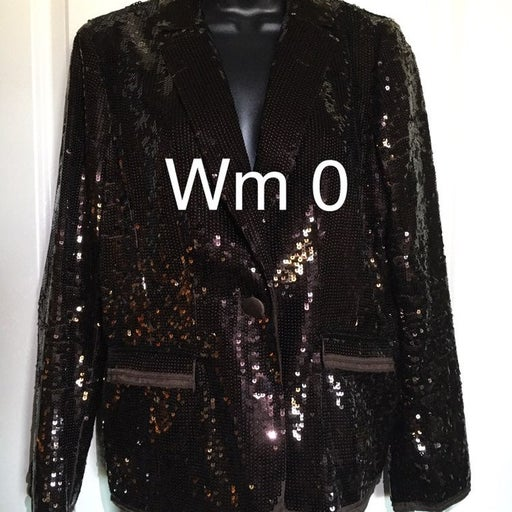 Chico's Wm Size 0 Brown Sequined Jacket