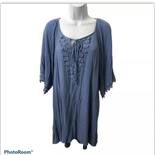 Dress Blue Crochet Boho Tie Neck 8-10 Equiv