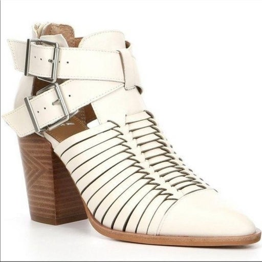 GB Wrapped-Up Leather Cut Out Stacked Bootie white