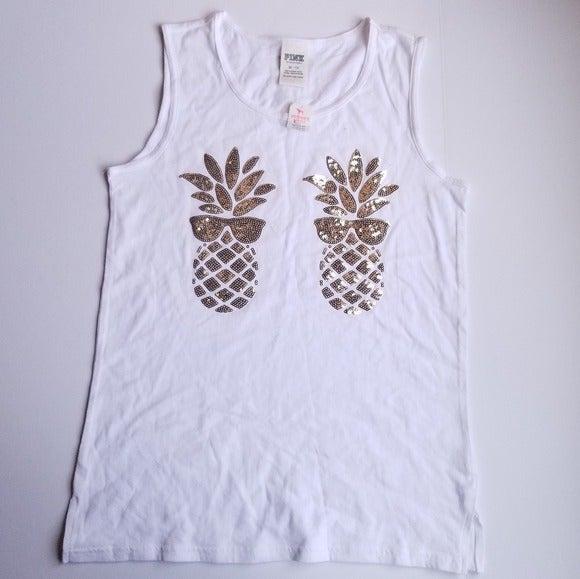 PINK Pineapple Sunglasses Bling Tank XS