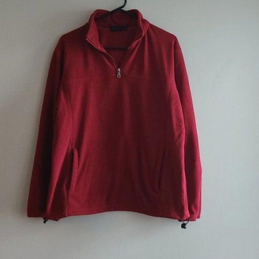 Croft and Barrow Red Fleece Zip Sweater