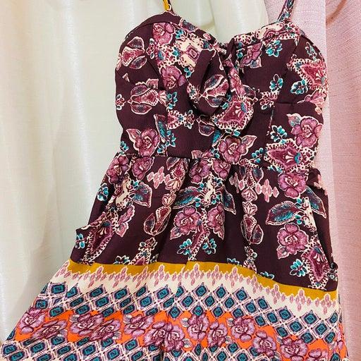 Purple Floral Romper Dress
