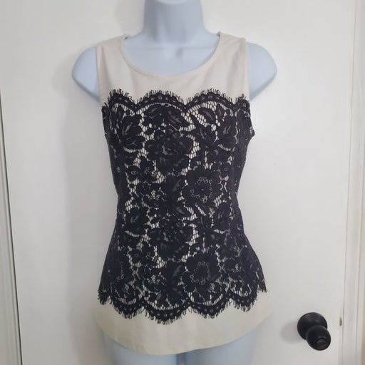 Ivory Tank with Black Lace Layer