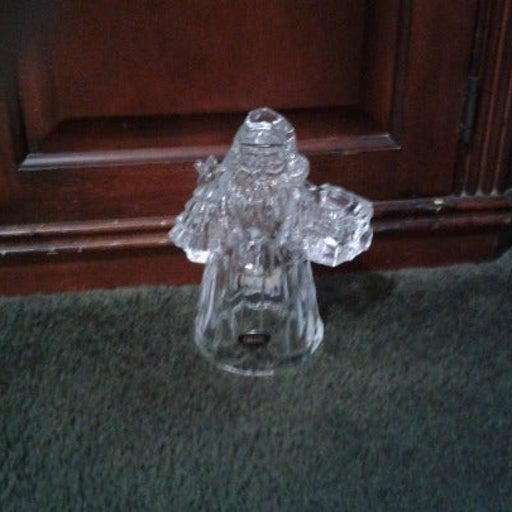 Crystal santa clause candle holder