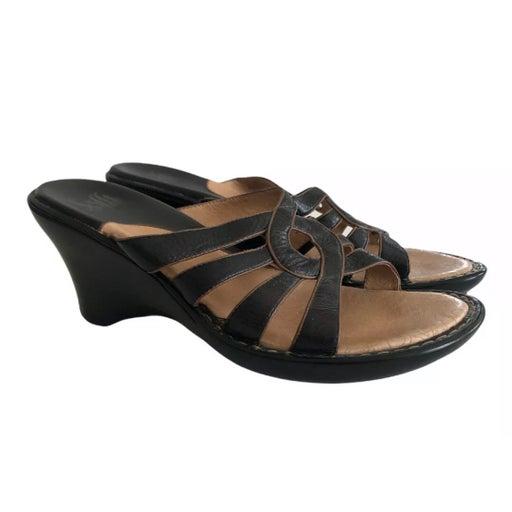 Sofft Sandals Sz 10 Leather Slip On Open Toe Black Brown Trim Heels Shoes.