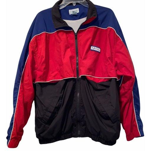 Vintage 90's Izod Bomber Jacket Spellout Embroidered Chest Logo Windbreaker L