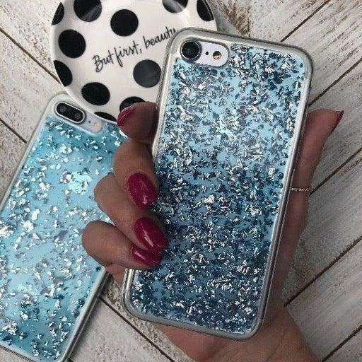 NEW iPhone 7/8 Blue Glitter Foil Case
