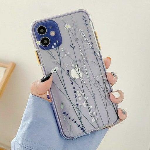 Iphone 12 case Floral Clear Lavender