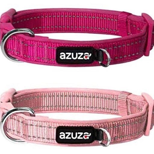 2 Pack Reflective Padded Dog Collars with Attached D-Ring
