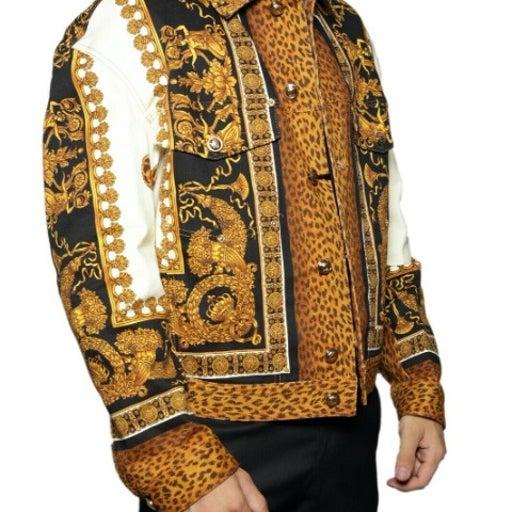 VERSACE Leopard Denim Jacket US Size M