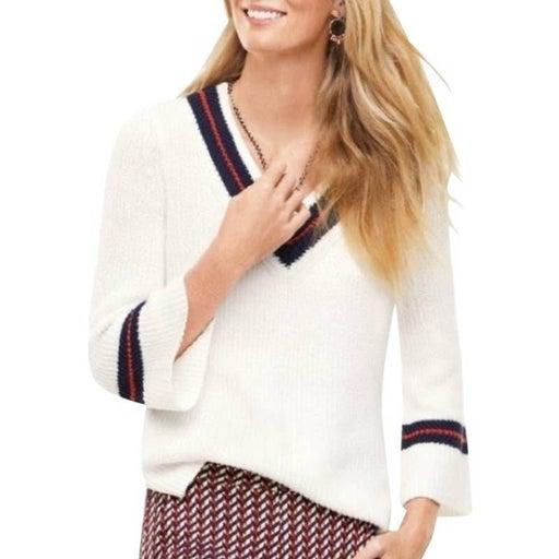 Cabi Ace Varsity Preppy V Neck Rib Knit Sweater S