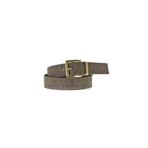 Michael Kors Fashion Womens MK Reversible Gold Tone Twist Buckle Belt Medium