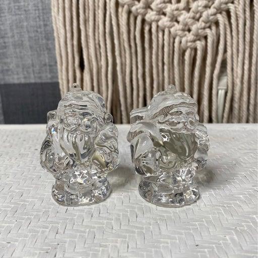 2 lead Crystal Santa Ornaments
