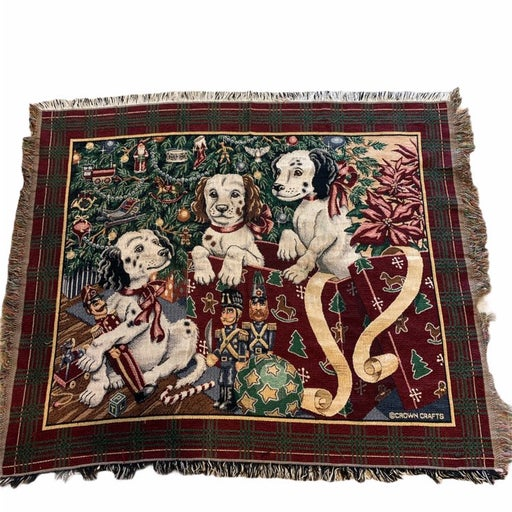 Vintage Woven Tapestry Blanket Throw Pup