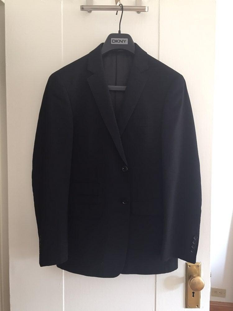 DKNY Mens Black Wool Suit 38R, Pants 31R