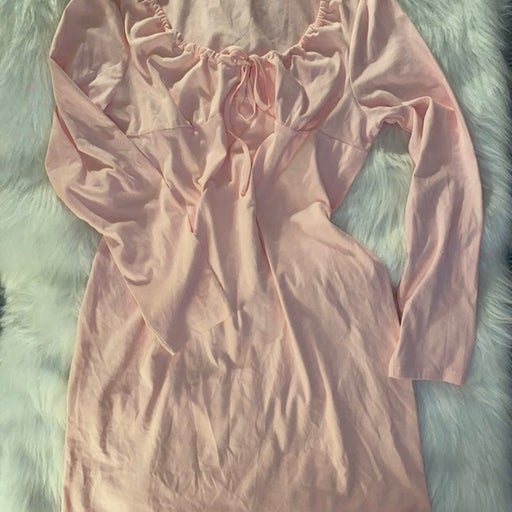 Pink Milkmaid Long Sleeve Dress