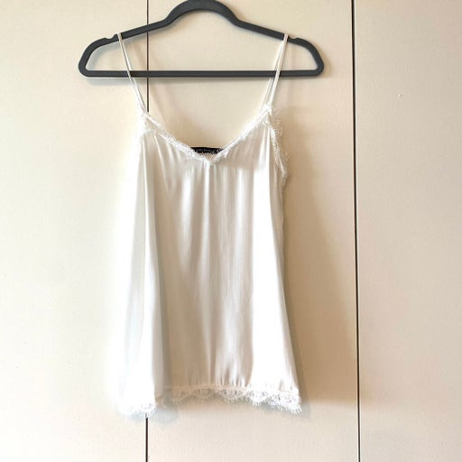 Zara Basic white Top with Lace detail