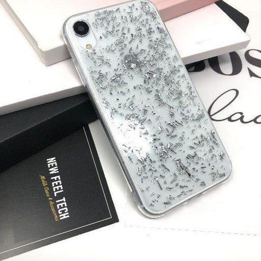 NEW iPhone XR Silver Glitter Flake Case