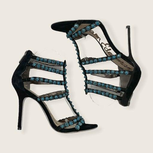 Sam Edelman Alina Blue Rhinestone Black Suede Stiletto Heel Sandals 8.5