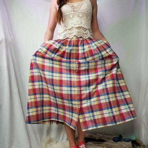 Vintage Plaid rainbow button-down Skirt