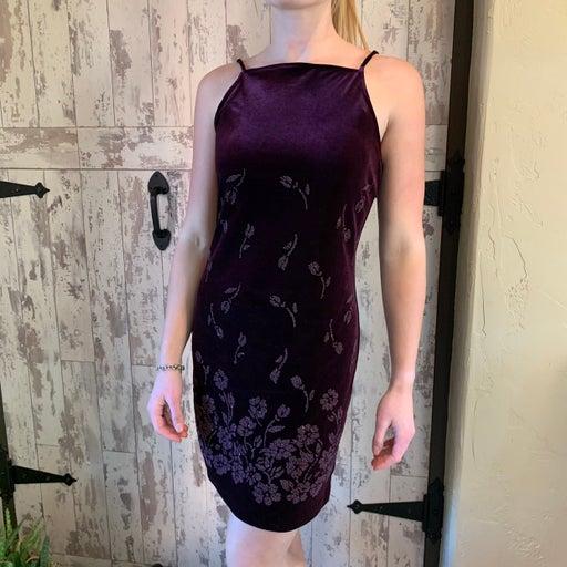 Velvet embellished low back mini dress