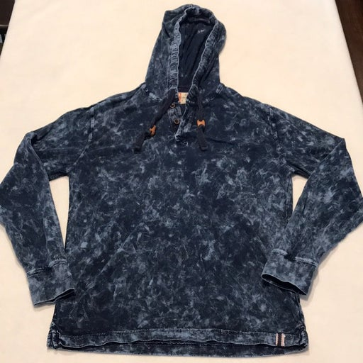Navy tie dye long sleeve hooded t shirt,