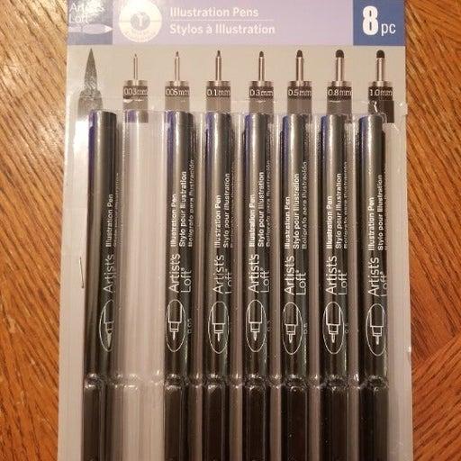7 Multi Tip Black Illustration Pens