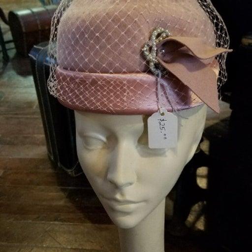 1950s pink vintage hat