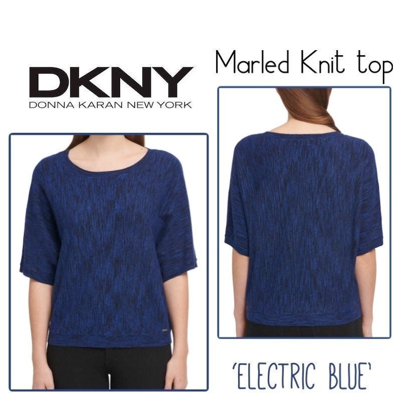 DKNY Marled Knit Top 'Electric Blue'-M