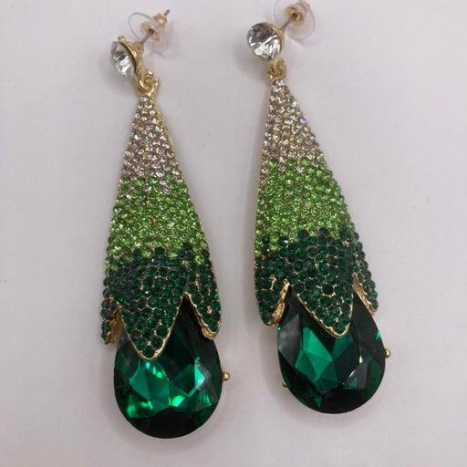Long gold tone tear drop clear to green ombré rhinestone earrings