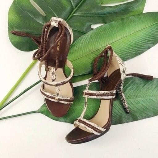 Michael Kors Valera Snakeskin Ankle-Wrap Sandal-NEW