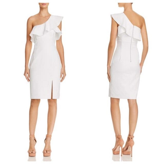 Bardot One Shoulder Ivory Ruffle Dress