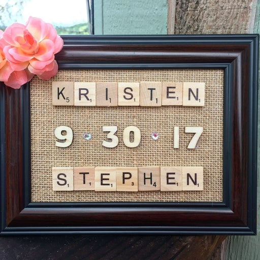 Wedding anniversary scrabble frame board