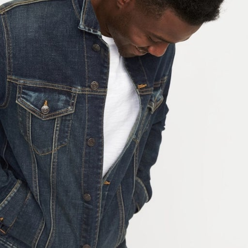Built in flex jean jacket for men