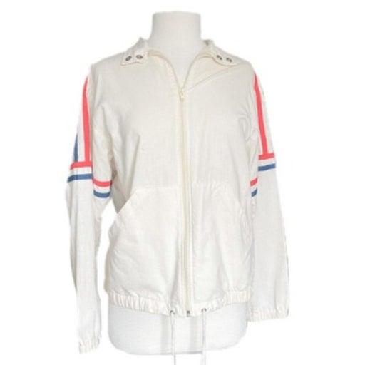 Vintage Catalina Off White Linen Zip Up Jacket | Size Medium