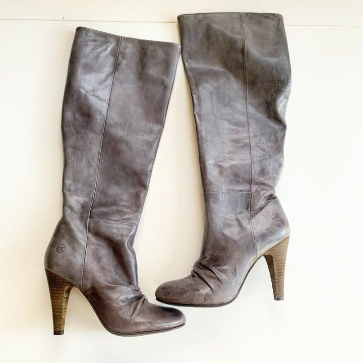 Bronx Gray Leather Toose Day Heeled Boot