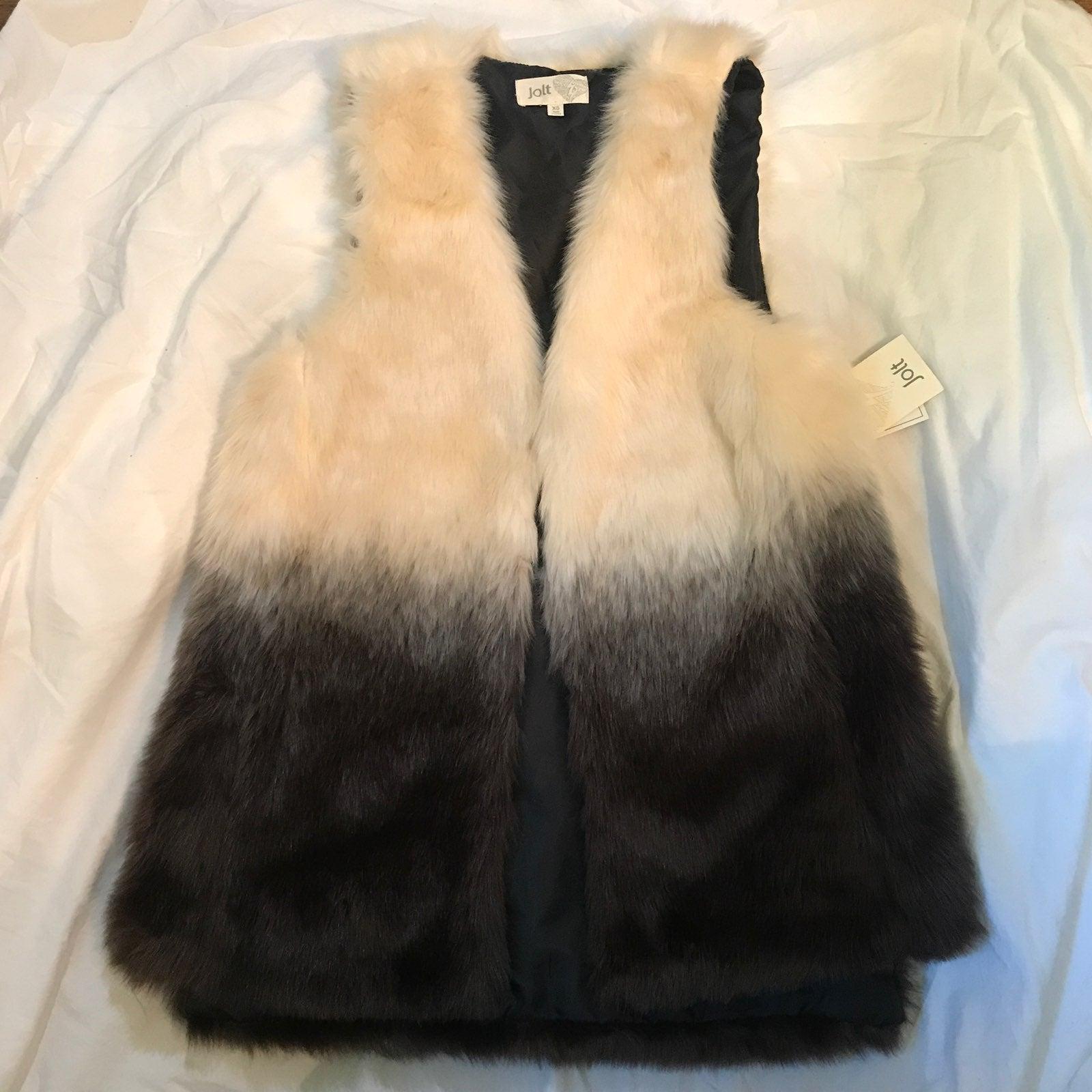 NWT Jolt two tone ombre faux fur vest XS